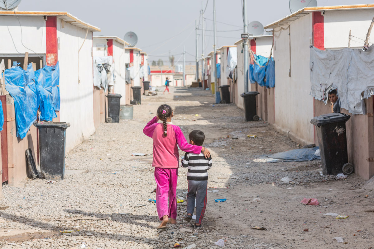 The Debaga Camp has been set up on the outskirts of the city of Erbil in northern Iraq and it is now full to the brim with children and families who've fled conflict in northern Iraq.