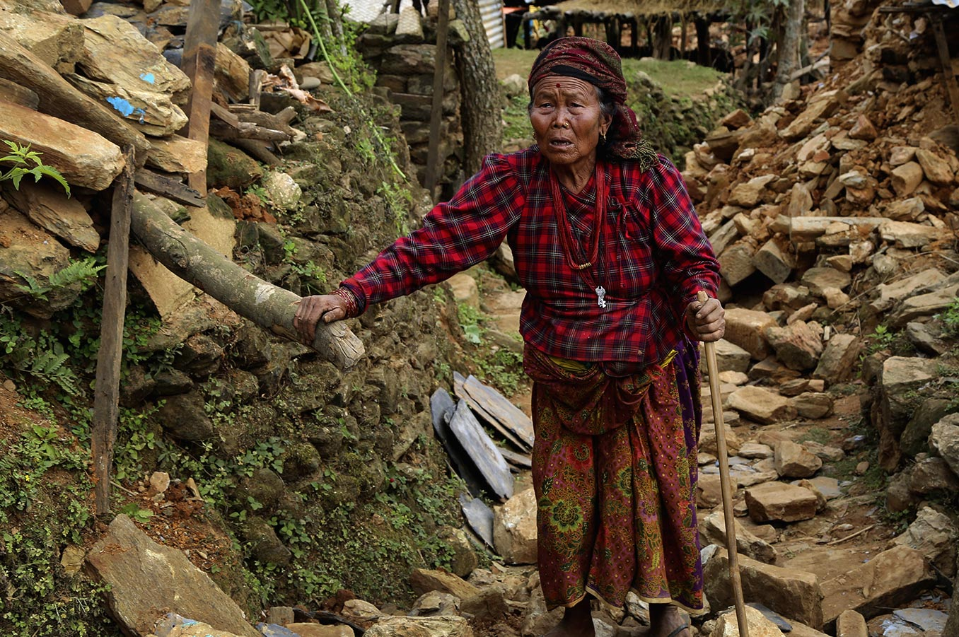 Woman in Nepal Earthquake rubble