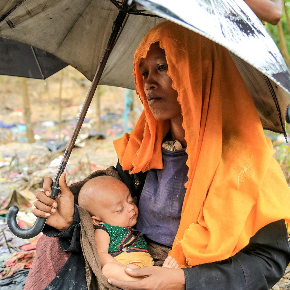 Sahara and baby taking shelter in Rakhine State