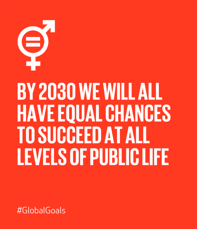 Sustainable Development Goal 5: By 2030 we will all have equal chances to succeed at all levels of public life