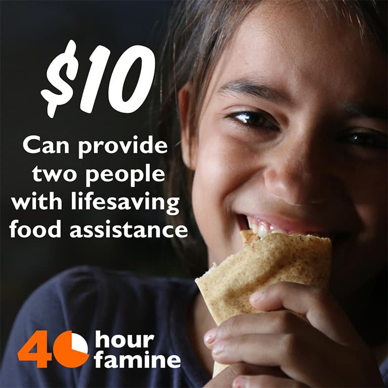 $10 can provide two people with lifesaving food assistance