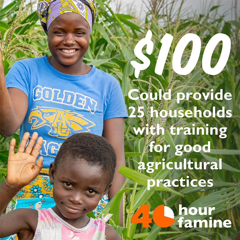 $100 could provide 25 households with training for good agricultural practices