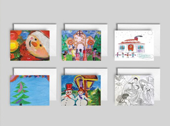 Pack of six Christmas cards gift