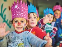 Syrian refugee children have a safe place to draw and play at a child friendly space in Lebanon.