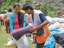 Families in Nepal were grateful to receive blankets following a devastating earthquake.
