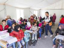 Children from Syria regularly attend school in this classroom in Jordan's Azraq Refugee camp.