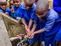 School children now have clean water to wash their hands with and to drink, at Kigogo Primary School in Rwanda.