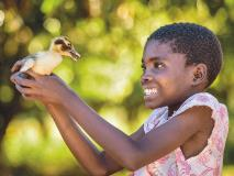 Nine-year-old Rosemary, from Zambia, likes to hold her family's ducklings.