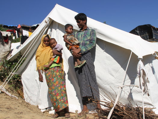 Abdur and his family received a tent to keep them safe and dry when they arrived in a refugee camp in Bangladesh.