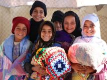 Vulnerable children attending a World Vision learning centre in Afghanistan gratefully received warm blankets.