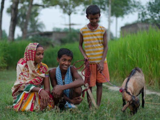 Happy children looking at gift goat
