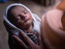 Just 24 hours old, Shamsida was born at Cox's Bazar, Bangladesh, she sleeps peacefully.