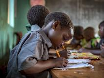Debby and her classmates in southern Zambia solve maths problems in their Grade 1 class.