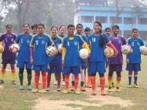 Fourteen-year-old Kalpona (centre) and her teammates love playing soccer in Bangladesh.