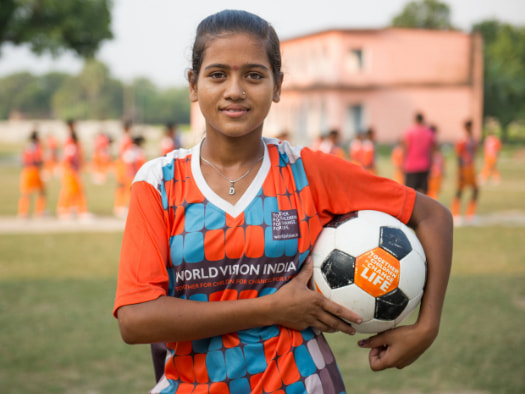Shikha represents her school in inter-school tournaments as part of the football coaching class organised by World Vision in India.