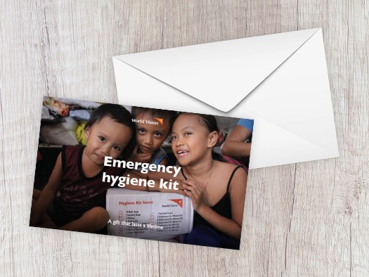 Children displaced by a volcano eruption in the Philippines received a hygiene kit to stay clean and healthy while waiting to go home.