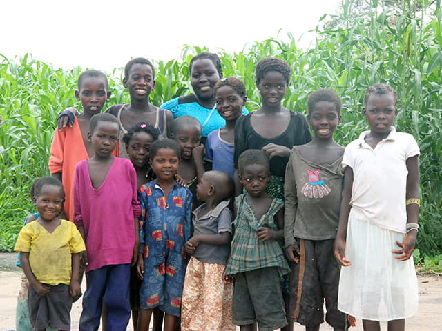 Chanita is grateful for the food she receives for her 14 children
