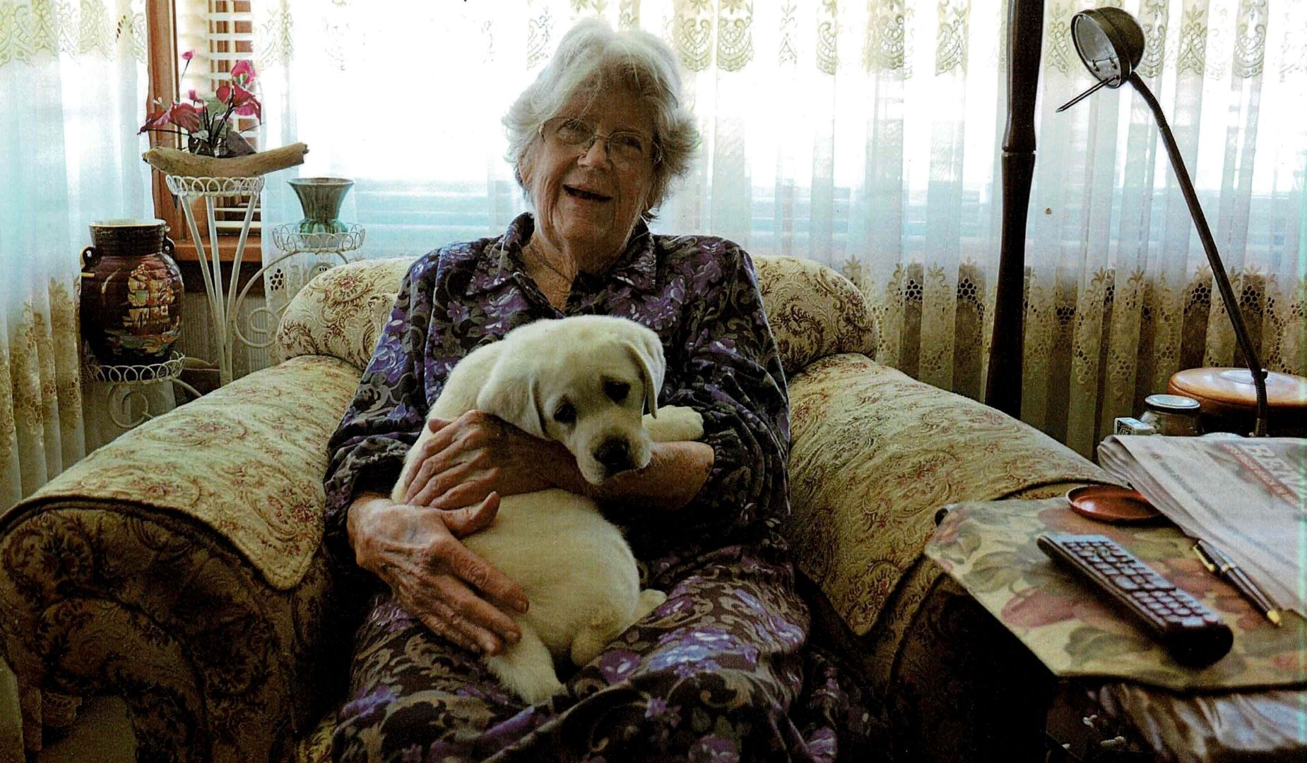 Sheila Woodcock with guide dog puppy